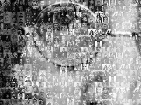 Artist impression of a section of John Lennon's face, made up of images of people's photographs